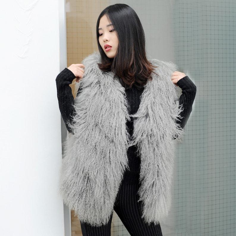 Chic Mongolian Lamb Duster Vest