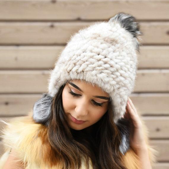 45dc99061 Knit Mink Fur Beanie With Fox Fur Pom