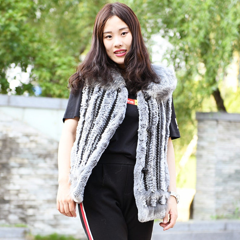 Rabbit Knitted Fur Gilet With Fox Fur Collar Real Fur Vest