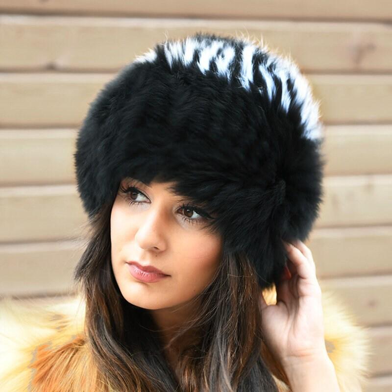 1ffc30b3c9290 Knit Finn Black and White Fox Fur Hat