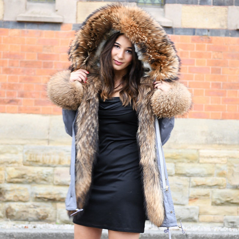 6de8ee958 Rabbit Fur Lined Parka With Raccoon Fur Trim and Cuff