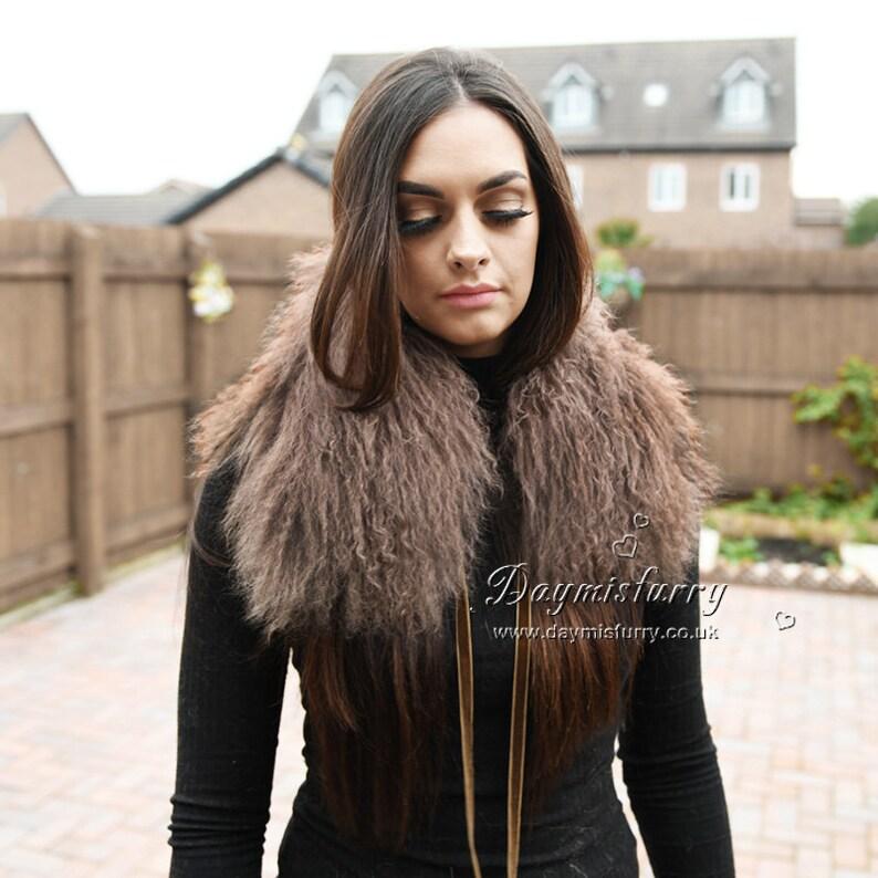 Dyed Brown Mongolian Lamb Fur Collar  Fur Scarf