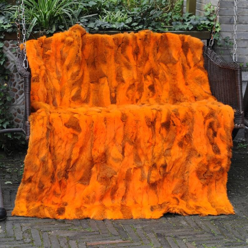Patchwork Rabbit Fur Blanket  Throw