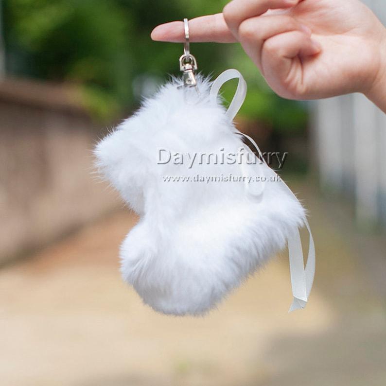Real Fur KeyRing Rabbit Fur CHRISTMAS Stocking Pendant White Real Fur Bag Charm