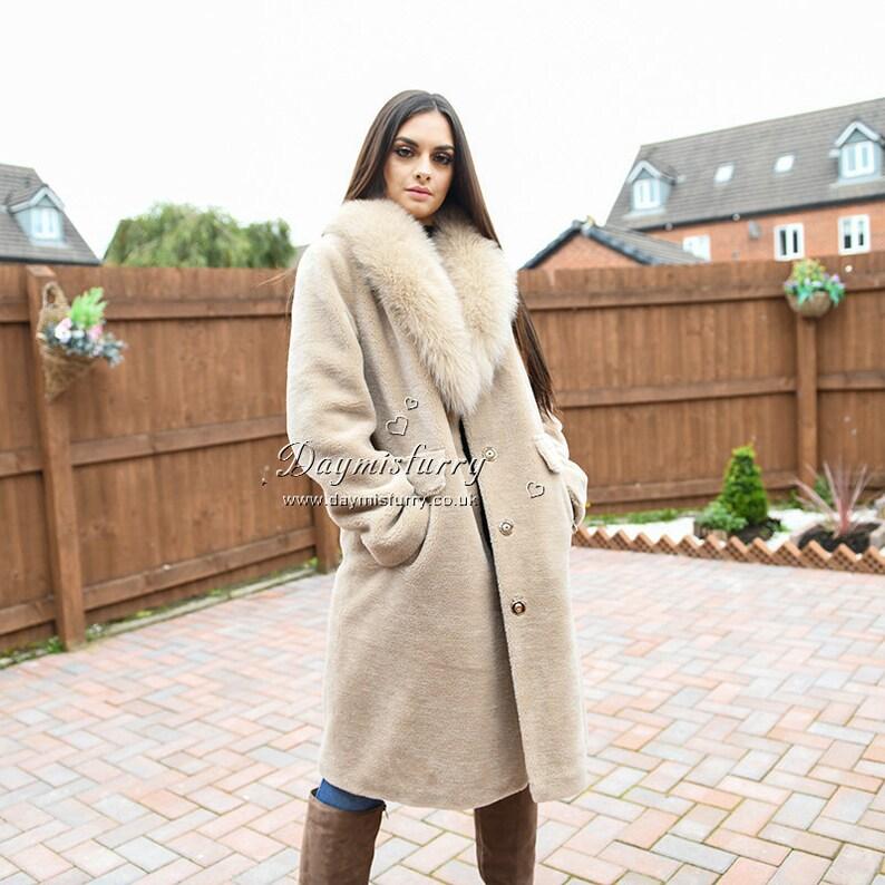 Teddy Wool Jacket Winter Jacket WIth Fox Fur Collar, Fur Coat, Fur Jacket, Women Coat, Winter Coat, Teddy Coat - Beige