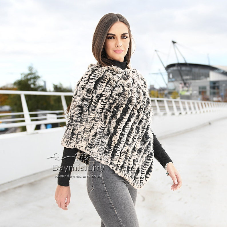 Knit Black Rabbit Fur Poncho  Fur Cape Real Fur Poncho