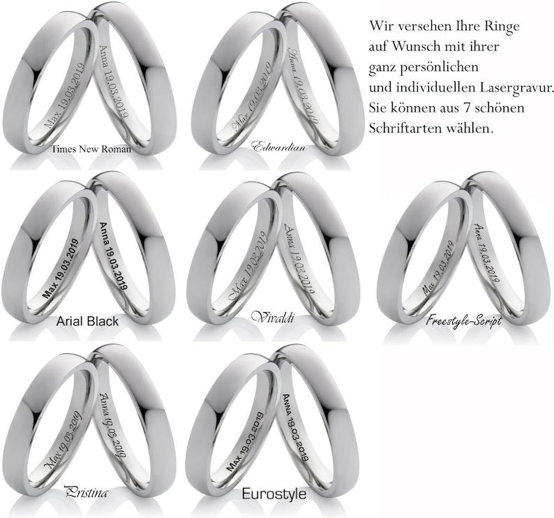 Elegant narrow wedding rings partner rings wedding rings made of stainless steel