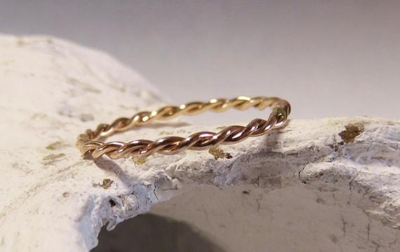 Goldring Rosegold Ring 585 Gold Zusteckring Kordelring Etsy