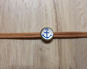 Bracelet / Leather Bracelet - Anchor - Hand Painted - Unique