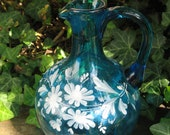 Vase, glass vase mouth-blown, hand painted