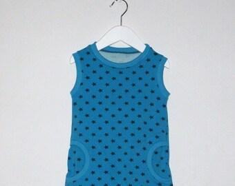 Mädchenkleid, Sommerkleid, Mädchentunika, mit Sternchen in blau, pink und  hellgrün 291c092e4f