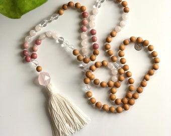 I Am Love Mala//Meditation Beads//108 Beads//Yoga Mala Necklace//Rose Quartz//