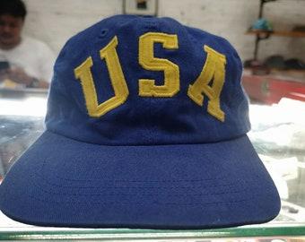 691048f7e3a Vintage Ralph Lauren Polo Sport Hat Sportsman USA script 90s Cap Rare