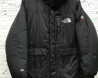 Vtg The North Face TNF Nuptse Black Brown Goose Down 800 Fill Jacket Sz M 67c785a59
