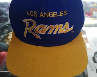 166a3e7c4b7 Rare LA Los Angeles Rams Vintage Snapback NFL Corduroy Cap Blue Script Vtg90