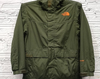 04fd36f5e9 Vintage The North Face TNF Full Zip Hooded windbreaker striped pattern  Lined Hyvent Jacket Sz M(youth)