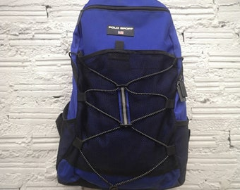 Vintage 90s Polo Sport Ralph Lauren Flag Navy Blue Backpack Bookbag School  Bag 667714aa5ea