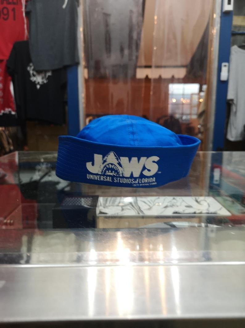1931c6c61 Vintage 80s Jaws Movie sailor navy cap Hat Shark Promo Logo! Blue Vintage  Style