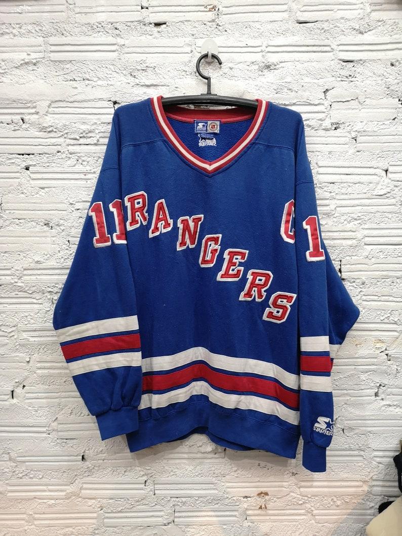 Vintage Starter NHL New York Rangers Jersey sweatshirt Messier Men s XL 90s  Blue Stitched 1d3a04ced