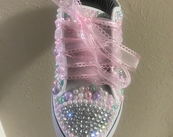 8a683fa641fdb Converse Bling Bling Shoes Bedazzled Converse Custom | Etsy