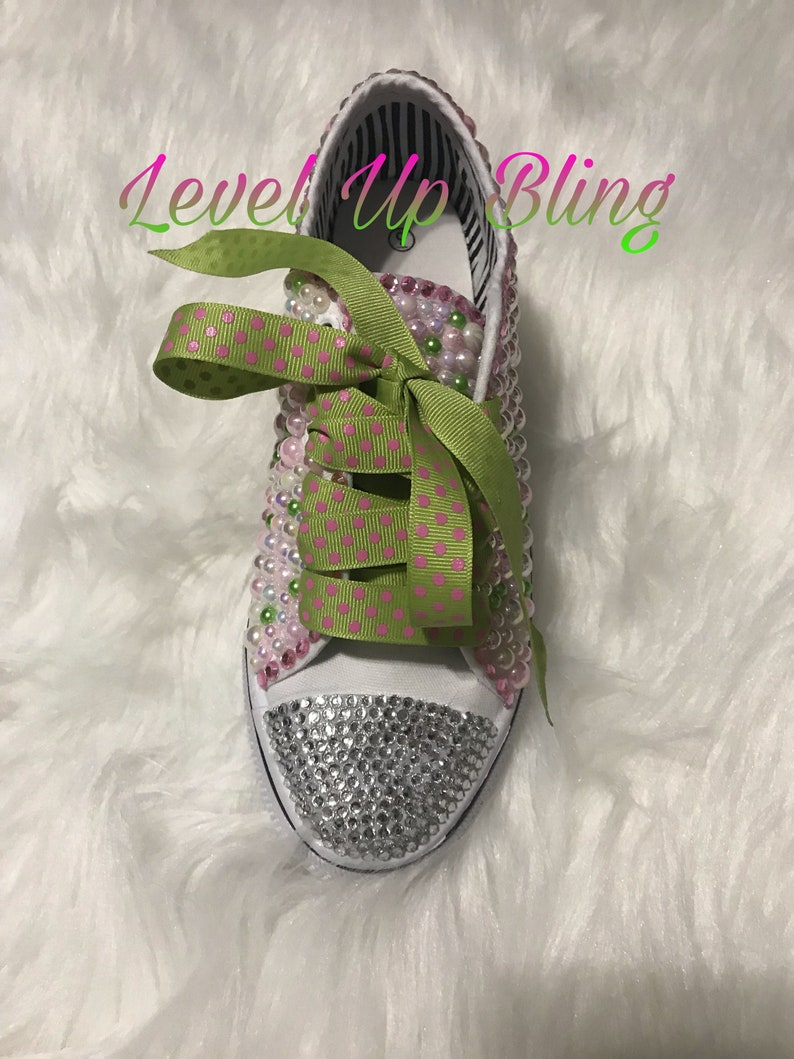 76d335a568303 AKA - Bling Shoes - Bedazzled Canvas - Custom Shoes - Green- Embellished  Shoes - Female Athlete - Glam - Pink