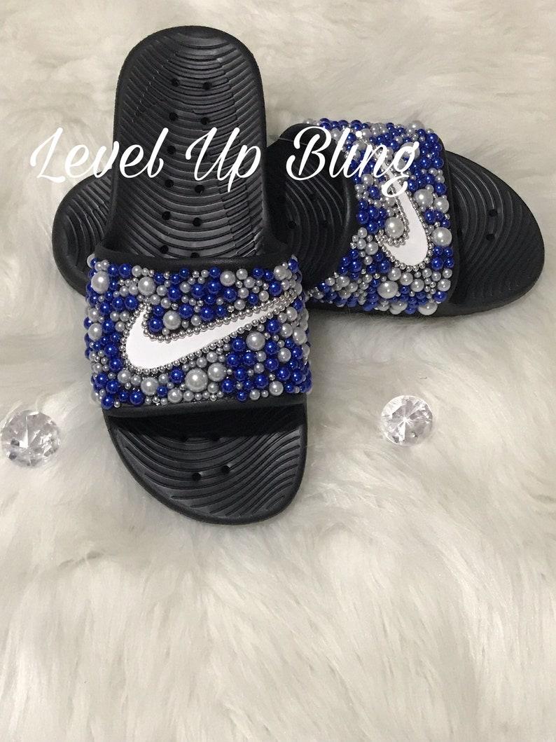 66dbfc721b0f2 Blue - Bling Nike Slide Shoes - Bedazzled Slippers - Custom Nike Slides -  Beads - Embellished Nike Shoes - Female Athlete - Glam