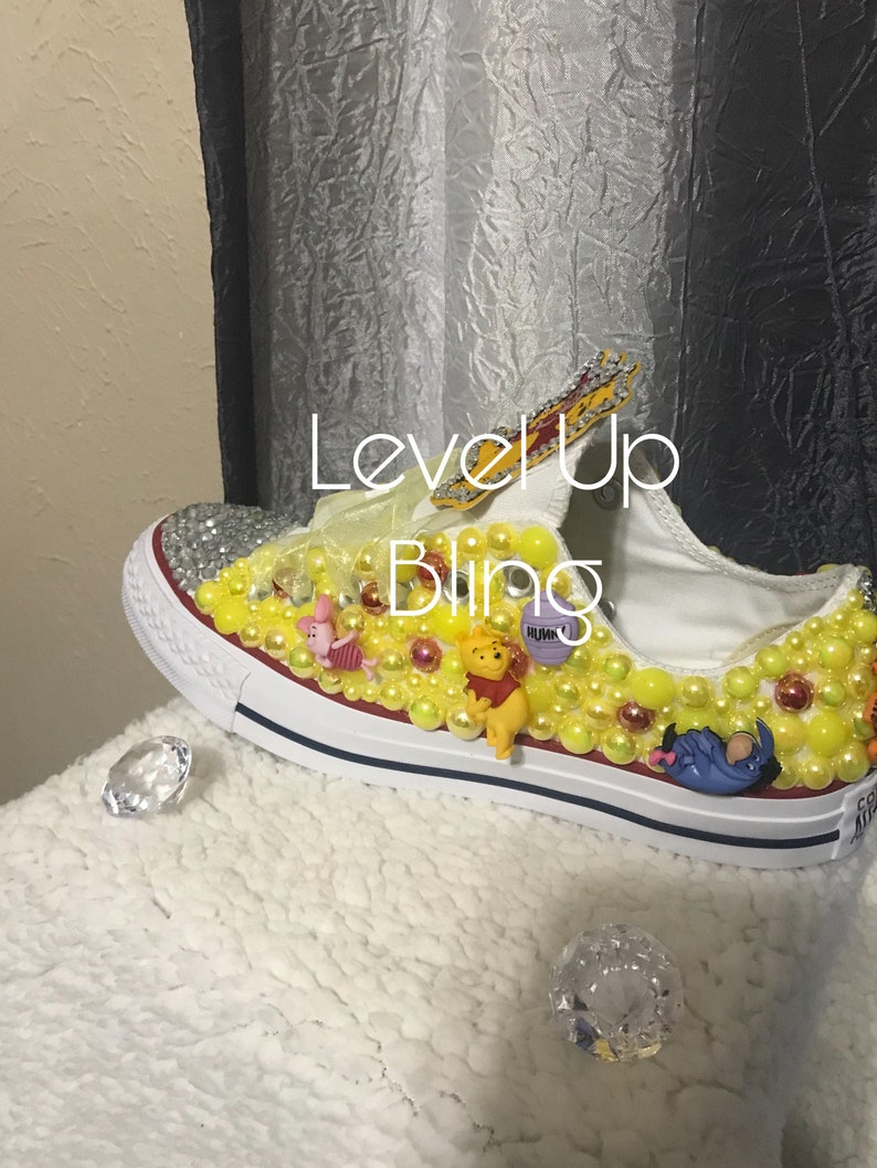 9424b5f7600f9 Winnie the Pooh Converse - Bling Shoes - Bedazzled Converse - Custom Shoes  - Green- Embellished Shoes - Female Athlete - Glam - Yellow