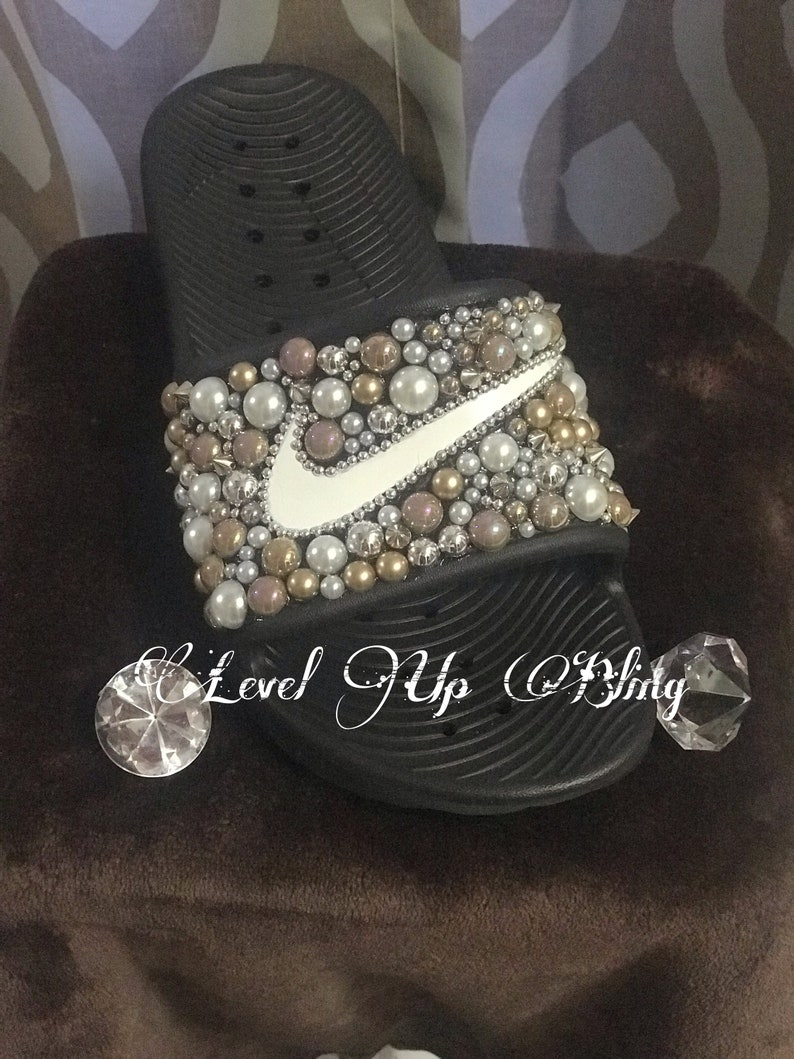 aabbc73edc8e3 Brown - Bling Nike Slide Shoes - Bedazzled Slippers - Custom Nike Slides -  Beads - Embellished Nike Shoes - Female Athlete - Glam
