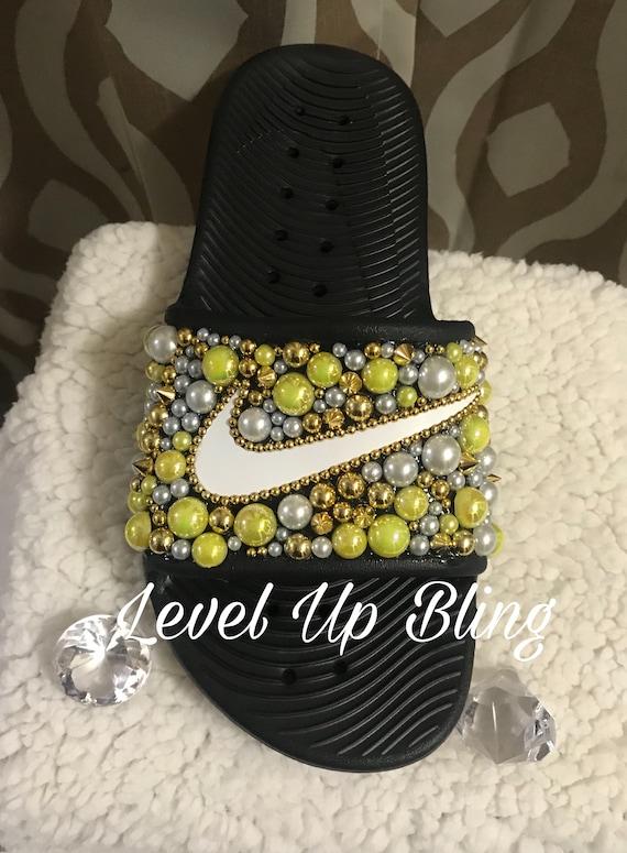 Yellow Bling Nike Shower Slides