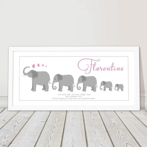 Taufgeschenk Mädchen Namensbild Personalisiert Baby Geschenk Geburt Taufbild Erster Geburtstag Taufe Kinderzimmerbild Elefant