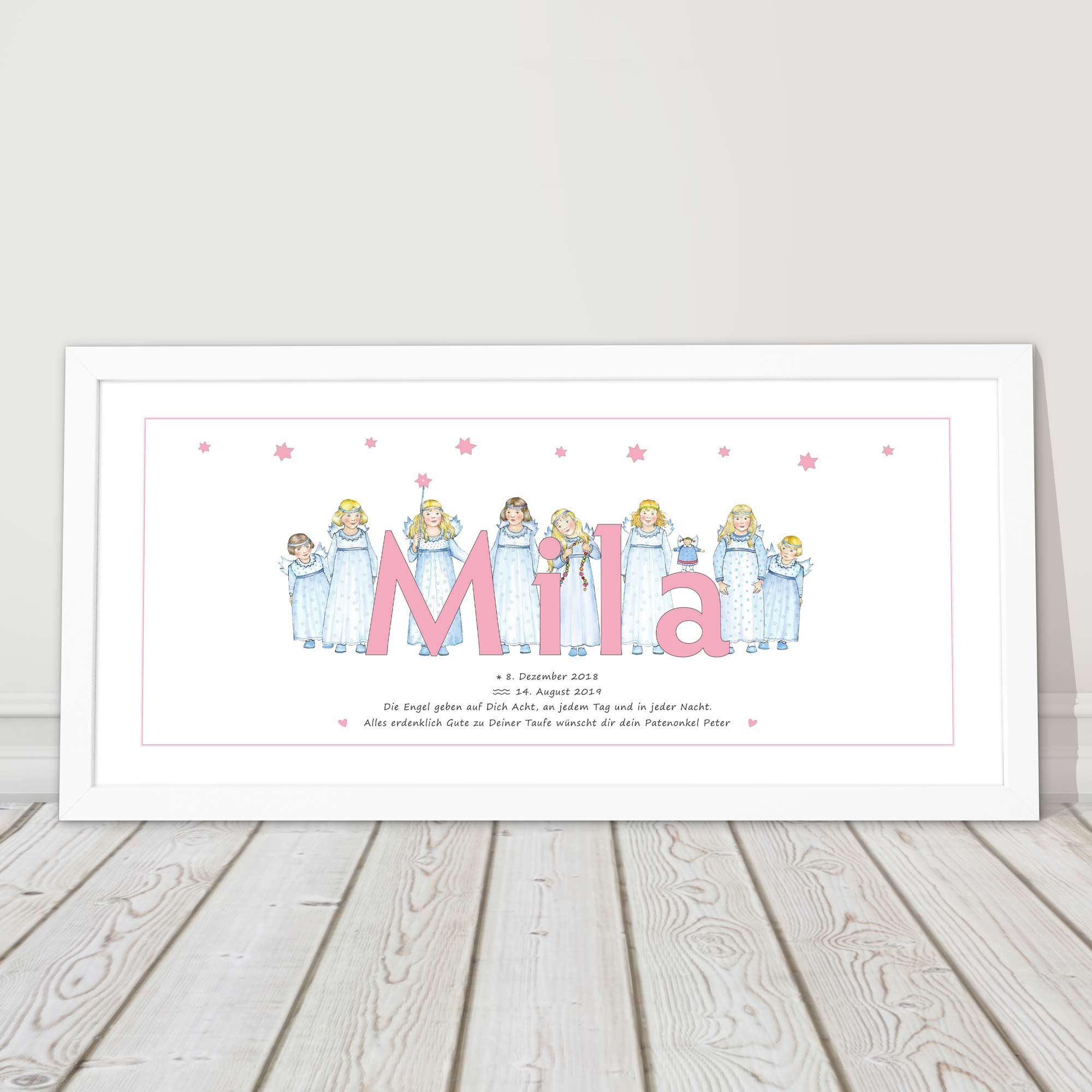 Baby Gift For Birth Personalized Baptismal Gift Girl Guardian Angel Godfather Gift Baptism Name Picture Nursery Décor