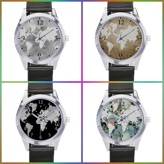Metal Watch, World Map watch, Leather band watch, Design 49, 56, 70, 96  World Map by L.Dumas Free Shipping