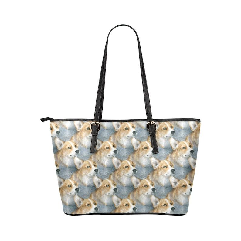 Leather tote bag Dog 89 Corgi blue art painting L.Dumas Tote Bag Dog art tote bag