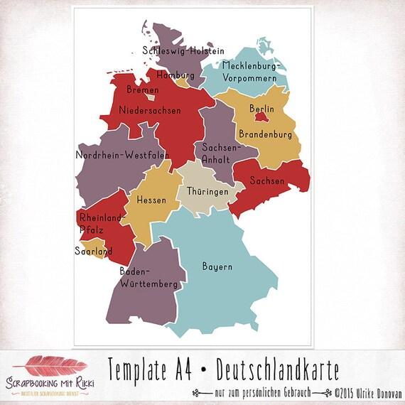 Template Deutschlandkarte In A4 Etsy