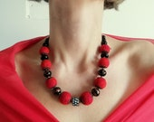 Red Black Felted Necklace Mother's Day Gift Wool Glass beads Ethnic necklace Needle felted balls Handmade wool Necklace Chunky felt necklace