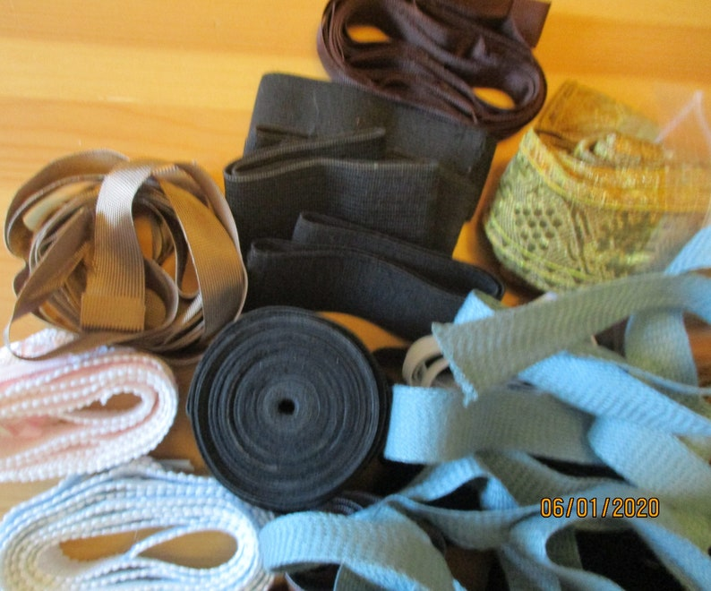 for sewing crafting and decorating clothing Large mixed lot of ribbons generally more than 1 m for masks a total of about 70 m trouser saver ribbon