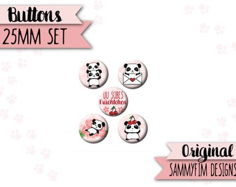 """Buttons (flat back) """"Simple panda table"""" Pink"""