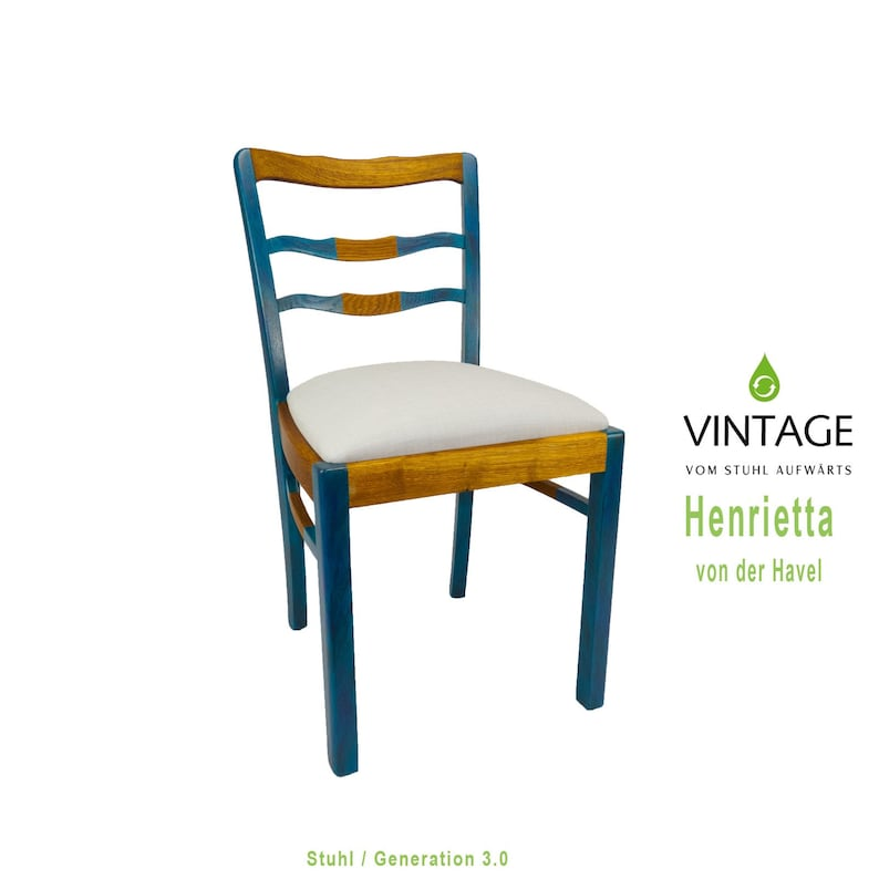 Wooden chair restored turquoise upholstered light blue image 0