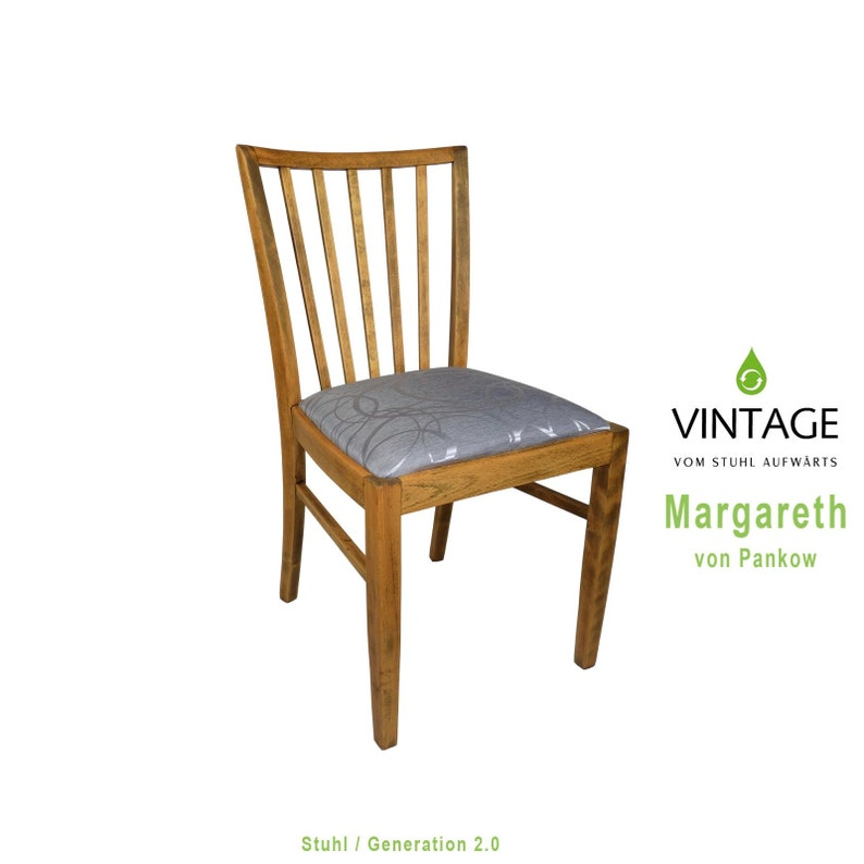 Wooden chair oiled upholstered silver restored image 0
