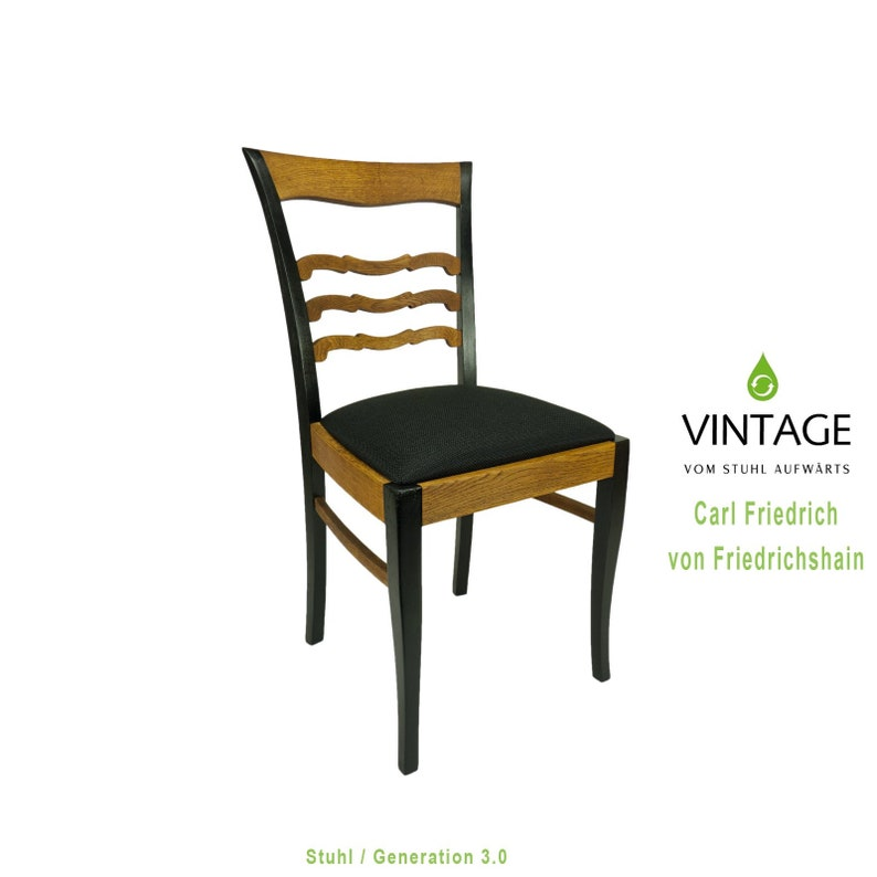 Wooden chair restored black oiled image 0
