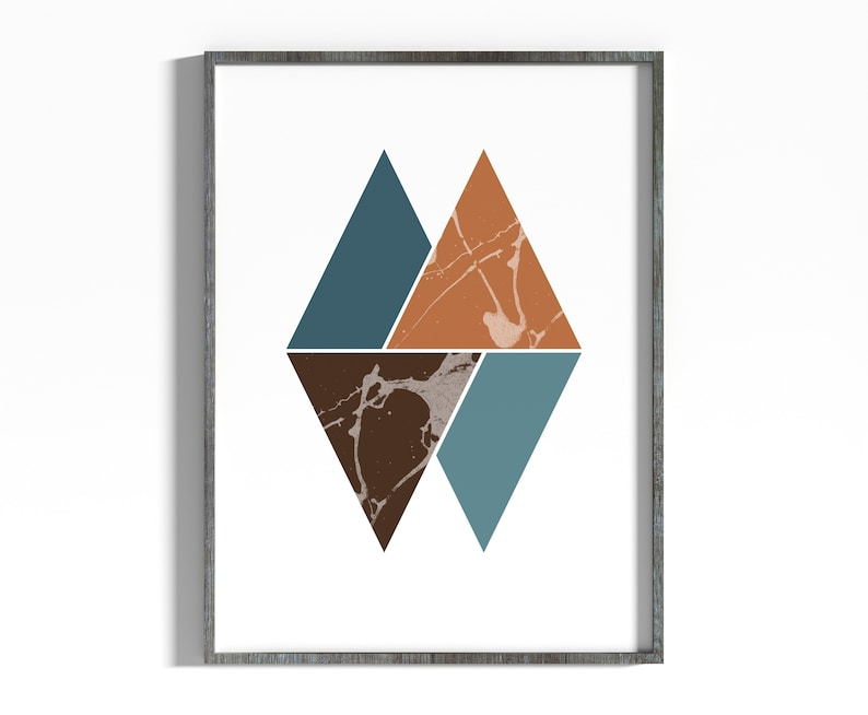 Turquoise Triangles Wall Art Print Minimalism Geometric image 0