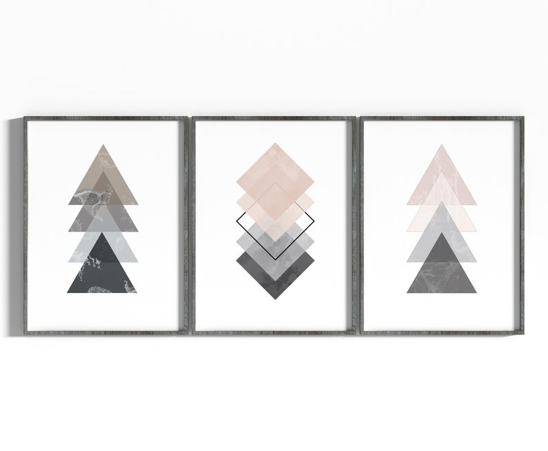 Pink&Grey Geometric Art Print Geometry Art Minimalism Art image 0