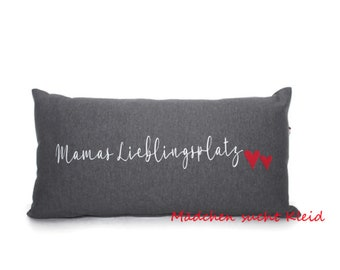Zippered pillow for mom, mom's favorite place, heart, neck roll, gift for mom, including inlay