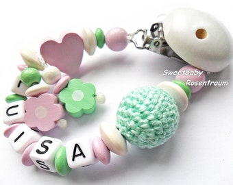 Pacifier chain heart girl with name