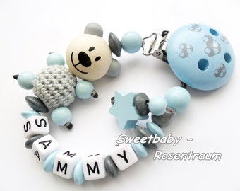 Pacifier boy, Teddy Personalized with name, star, crochet, cars, Baby gift for baptism