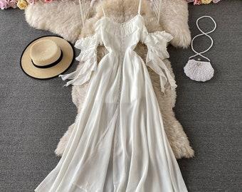 Chic fairy gentle wind suspender long skirt goddess fan backless backless slim slimming dress with short sleeves