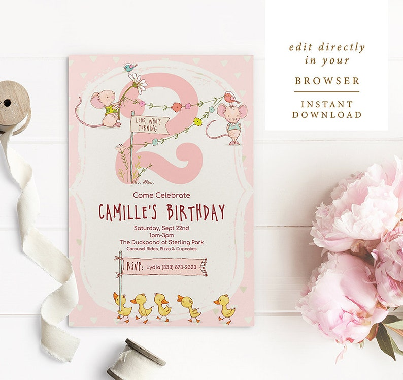 Birthday Party Invitation Template For A Two Year Old