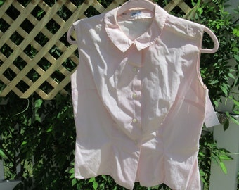 e2dce34ef58ff9 RESERVED FOR ASH 1960s Vintage Woman's Women's Pink Shirt Blouse Size Small  Medium S M