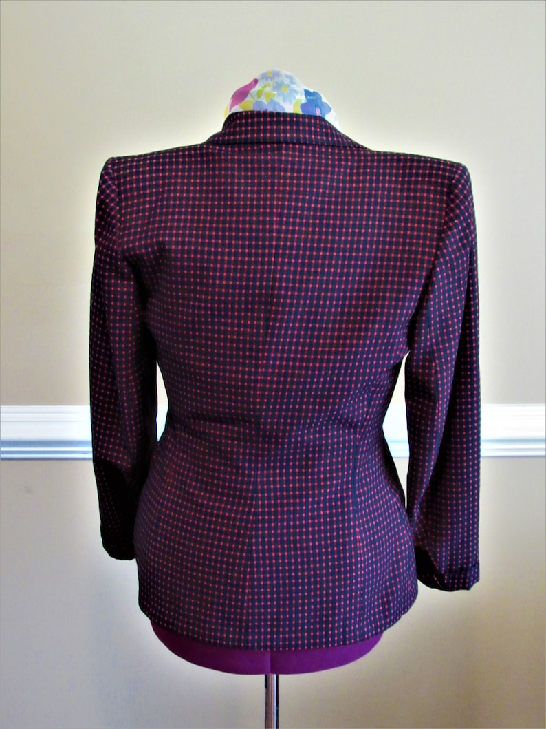 1940s Vintage Women/'s Woman/'s Black and Red Suit Jacket size Small Medium S M