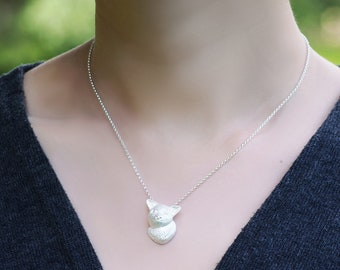 Snow Fox Pendant Sterling Silver Arctic fox naughty baby earth environment eco pendant necklace